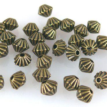 35 Metallperlen Spacer Bicone 4mm Metall Perlen geriffelt bronze Kette basteln