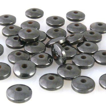40 Hämatit Perlen Diskus 6mm Spacer metallgrau Spacerperlen zum Schmuck basteln