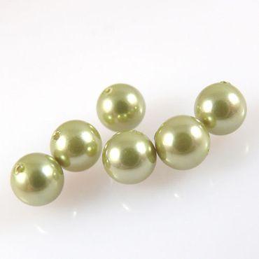 6 Perlmuttperlen Kugeln 6mm Muschelperlen rund olivgrün Perlen Schmuckperlen