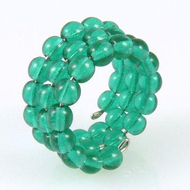 Damenring aus Glasperlen 50-54mm türkisgrün Perlenring -079