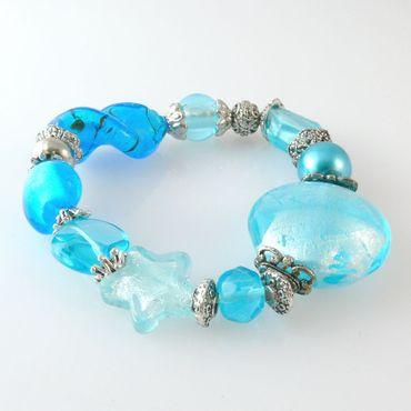 Damenarmband aus Glasperlen aquamarin Trachtenarmband Armband aus Perlen -3049