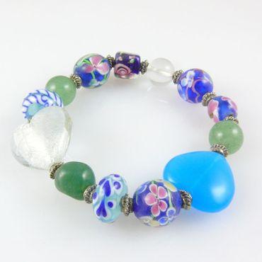 Damenarmband aus Glasperlen aquamarin-grün Armband Perlenarmband Trachtenschmuck