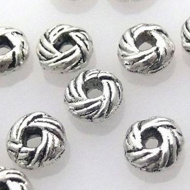 15 Metallperlen Metall Perle Rondelle silber Perlen Bastelperlen Spacer -777 – Bild 1