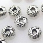 15 Metallperlen Metall Perle Rondelle silber Perlen Bastelperlen Spacer -777