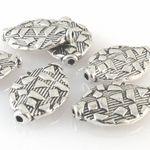 6 flache Metallperlen oval 15x10mm altsilber Bastelperlen aus Metall -623
