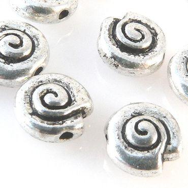 10 Metallperlen Schnecken 8mm Tierperlen altsilber Metallschnecken Bastelperlen – Bild 1