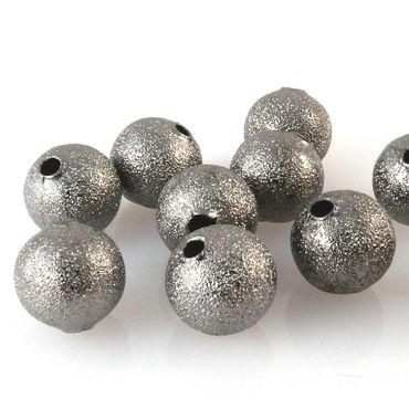 10 edle Metallperlen Kugeln 10mm rund dunkelgrau Metallkugeln zum Basteln -667
