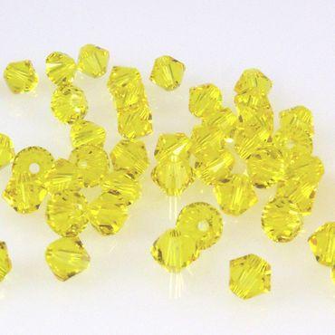 10x SWAROVSKI ELEMENTS 5328 Bicone 4mm Citrine Perlen gelb Kristallperlen -1484