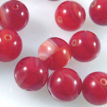 15 Glas Perlen rot gemaserte Glasperlen Kugeln rund 8mm Bastelperlen -397