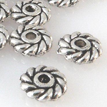 20 Rondelle Metallperlen 6x2mm Spacer Perlen altsilber Metallspacer Basteln -719 – Bild 1