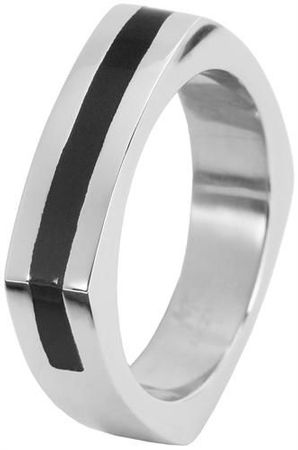 Edelstahlring Herrenring Gr. 70 Männer Ring Edelstahl 22mm silber schwarz -959