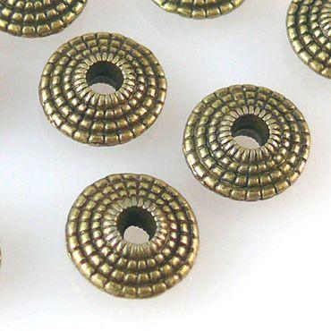 10 Metallperlen Metall Diskus 8mm bronze Spacer Perlen zum Schmuck basteln -1275 – Bild 1