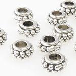 10 Metallperlen 4x7mm Spacer Großlochperlen altsilber Metall Perlen silber-362