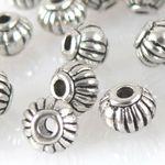 30 Metallperlen Spacer Kugeln 4mm Metall Perlen geriffelt altsilber Bastelperlen