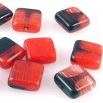 10 edle Glasperlen Quadrat Kissen 10mm Perlen rot schwarz gemasert Schmucksteine 001