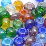 80 Rocailles Perlen Glasperlen Farben-Mix 6mm bunt Rocaillesperlen Perlenmix
