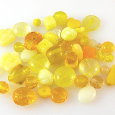 edles Perlen Mix sonnengelb 50 Glasperlen 4-15 mm gelbe Bastelmischung -1393 – Bild 2