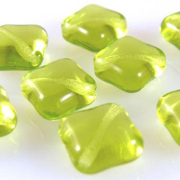 10 Glasperlen Kissen olivgrün 10mm diagonales Loch mit Silbereinzug -126 – Bild 1