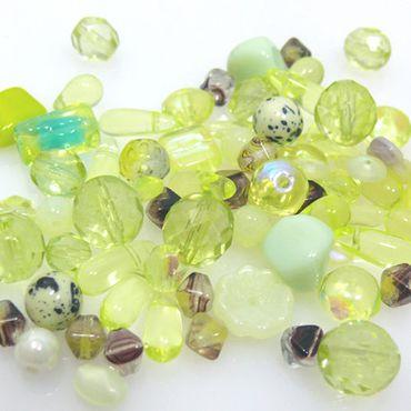 60 Perlen Set Perlenmix hellgrün Glasperlen Mix 2-13mm peridot Bastelset