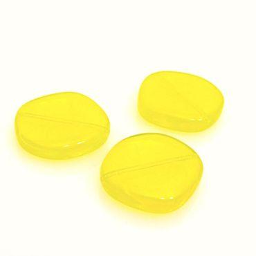 3 große Glasperlen 21mm Scheibe gelb mit Maserung Perlen zum Ketten Basteln -439 – Bild 1