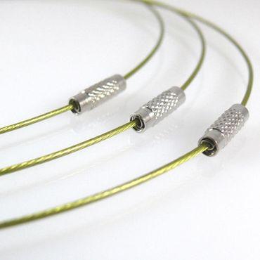 Halsreif aus Edelstahl mit Schraubverschluß 46cm olivgrün Collier Halsreifen – Bild 1