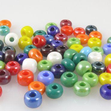 80 große Rocailles Perlen 2/0 Glasperlen Farben-Mix 6mm bunt Rocaillesperlen – Bild 2