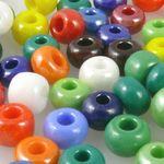 80 große Rocailles Perlen 2/0 Glasperlen Farben-Mix 6mm bunt Rocaillesperlen