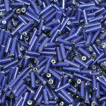 500 Rocailles-Stifte 7mm Röhrchen dunkelblau Glasperlen Tube Rocaillesperlen neu