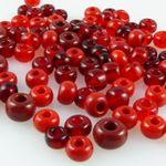 90 große Rocailles Glasperlen 5-7mm Perlen Mix rot Rocaillesperlen Beads -844