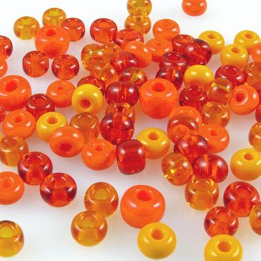 60 große Rocailles Glasperlen 5-7mm Perlen Mix orange Bastelperlen Beads -727