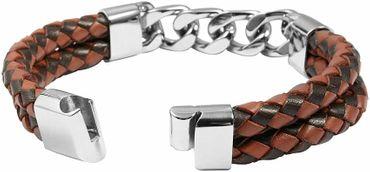 Herrenarmband Leder 21cm braun Lederarmband Armband mit Edelstahl – Bild 2