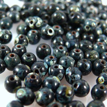 100 edle Glasperlen Kugeln Perlen 4mm schwarz marmoriert Bastelperlen -628