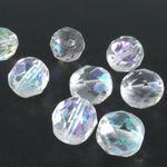 10 böhmische Glasschliffperlen 9mm kristall AB Facettenperlen zum Basteln -868