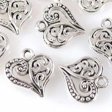 10x Metallanhänger Herz 14mm Herzanhänger Metallherzen silber zum Basteln -408 – Bild 1