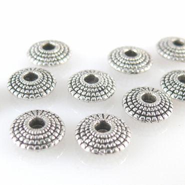 10 Metallperlen Metall Diskus 8mm silberfarben Spacer Perlen Scheiben Rondelle – Bild 2