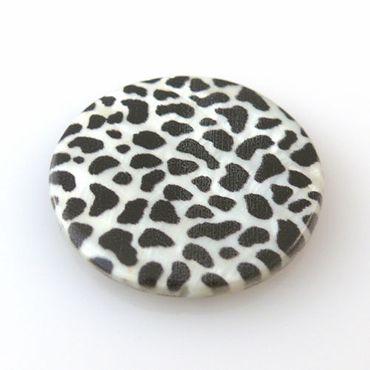 """große Muschelperle """"Leopard"""" Perlmutt 3cm Scheibe schwarz weiß Perlmuttperlen – Bild 1"""