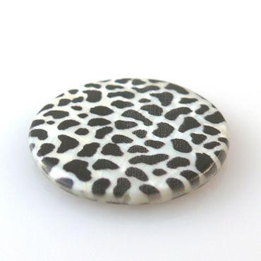 """große Muschelperle """"Leopard"""" Perlmutt 3cm Scheibe schwarz weiß Perlmuttperlen – Bild 2"""