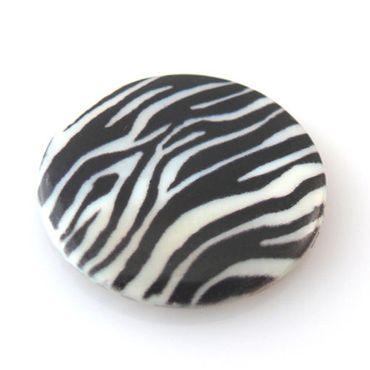 """Neu große Muschel Scheiben """"Tiger"""" 3cm schwarz weiß Perlmutt Perlen Stücke -292"""