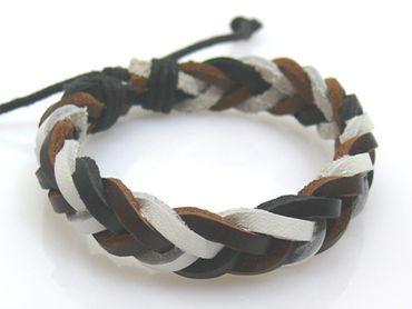 Neu Herren Lederarmband weiß braun schwarz Armband aus Leder Lederschmuck – Bild 2