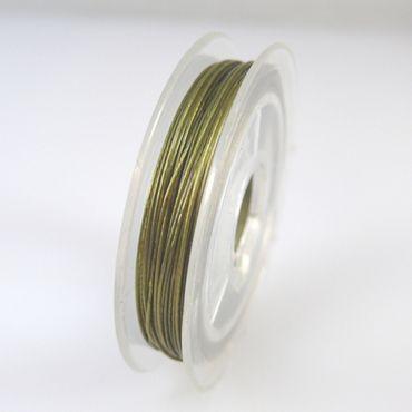 10m Schmuckdraht Basteldraht olivgrün nylonumantelter Draht 0,38mm Perlendraht – Bild 2
