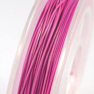 10m nylonummantelter Schmuckdraht Basteldraht pink Draht 0,38mm Schmuck Basteln  – Bild 1