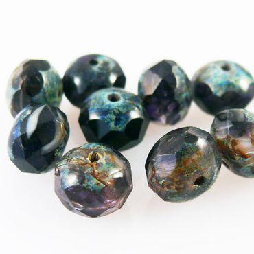 10 St. Glasschliffperlen Rondelle 6x8mm Böhmische Glasperlen Beads schwarz-braun