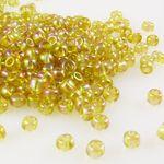 290 Rocailles Perlen Glasperlen 4mm AB gelb Glas Beads Bastelperlen -366