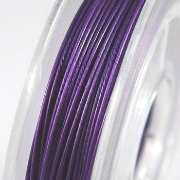 10m beschichteter Schmuckdraht Basteldraht violett 0,38mm Draht Stahldraht – Bild 1