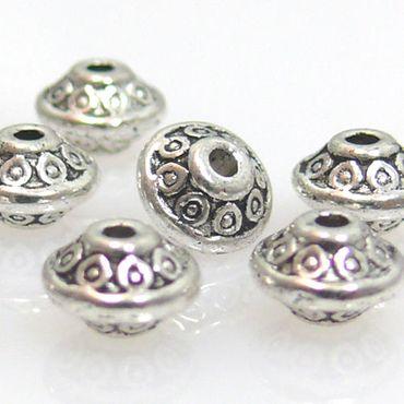 10 Metallperlen Metall Spacer Perlen Rondelle silber Metallspacer zum Basteln – Bild 1