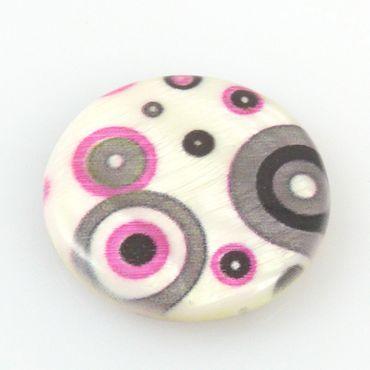 große Muschel Perlen Perlmutt 3cm Perlmuttperlen Scheiben weiß pink grau -196 – Bild 1
