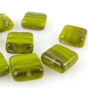 10 edle Glasperlen Quadrat Kissen 10mm Perlen olivgrün gemasert Bastelsteine-407
