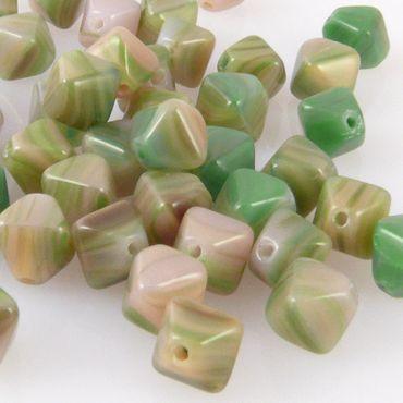50 edle Glasperlen 6mm Rhomben grün-altrosa Perlen Bicone bunt -471 – Bild 1