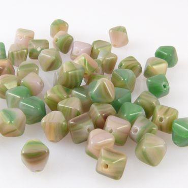 50 edle Glasperlen 6mm Rhomben grün-altrosa Perlen Bicone bunt -471 – Bild 2