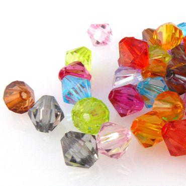 50 Perlen Mix bunt Bicone 8mm Perlenmischung bunte Rhomben aus Kunststoff -974 – Bild 1